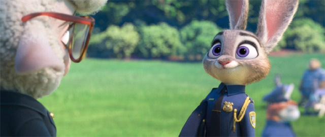 ジュディが警察官に任命されるシーン