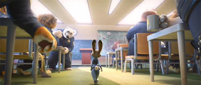 ジュディが警察署で仲間と会うシーン