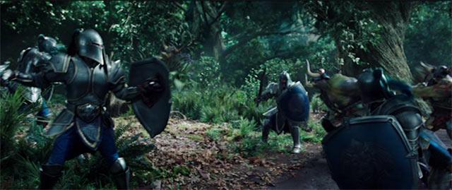 森の中でオークとの戦闘シーン