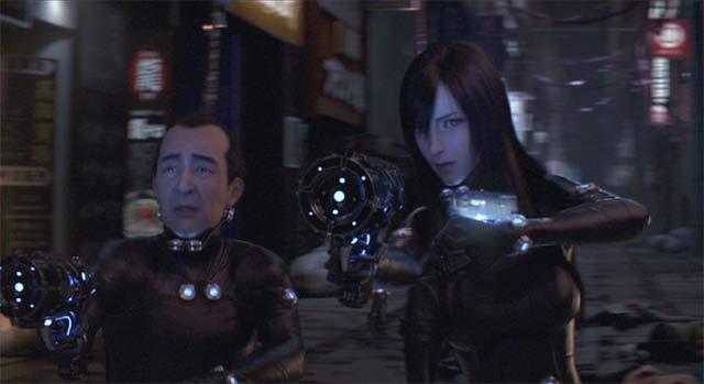 Xガンを構える鈴木さんとレイカ