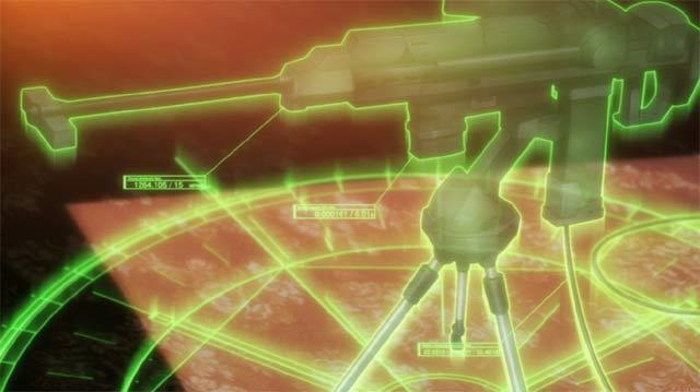 電脳内で敵の銃を分析しているシーン