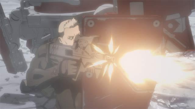 マシンガンを撃つバトー
