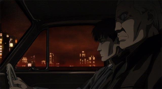 トグサとバトーが車で話をするシーン