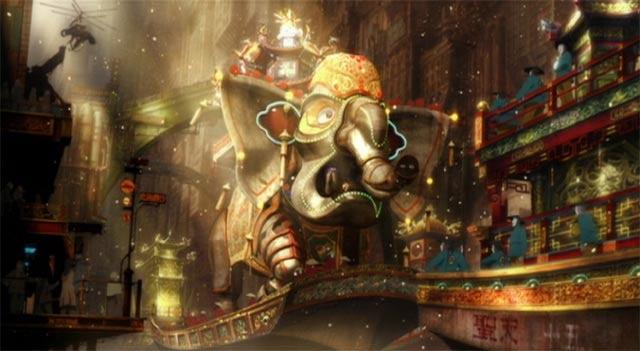 お祭りのシーン 中国風の象の神輿